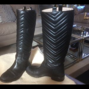 Gucci Marmont Matelasse Leather Riding Boots